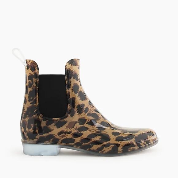 J Crew Chelsea Leopard Rain Boots
